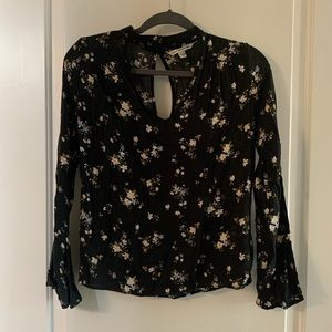AE black floral blouse